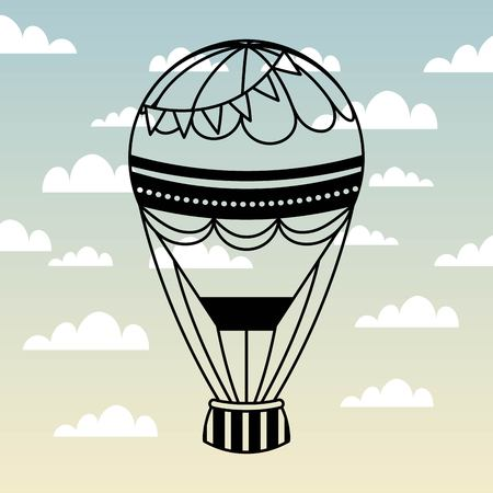 air balloon icon over sky background. colorful design. vector illustration