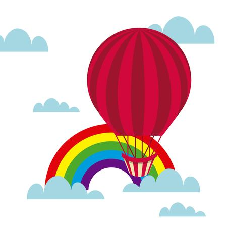 air balloon icon over sky with rainbow background. colorful design. vector illustration