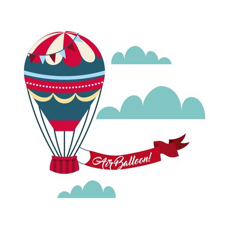 air balloon icon with red ribbon over skybackground. colorful design. vector illustration Illustration