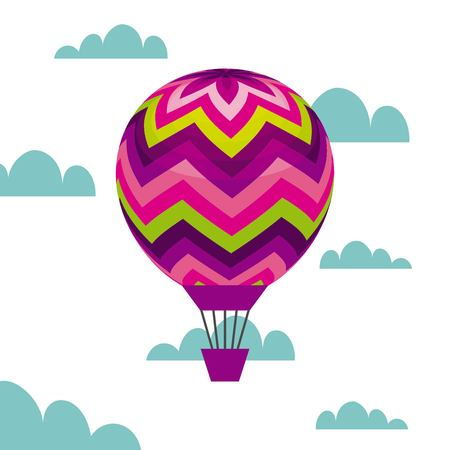 air balloon icon over sky  background. colorful design. vector illustration Ilustração