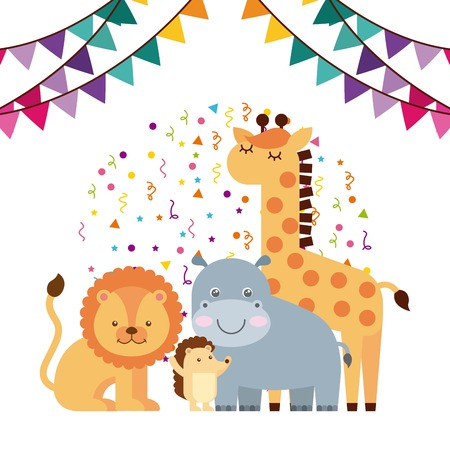 Happy Birthday Card With Cute Animals And Colorful Pennats
