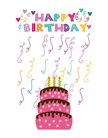 happy birthday card with cake with candles and serpentine over white background. vector illustration Imagens - 76548763