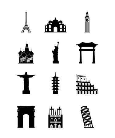 illustraiton: icons of iconics monuments of the world over white background. travel and tourism design. vector illustraiton