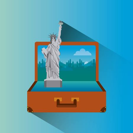 illustraiton: liberty statue inside brown suitcase. travel and tourism design. vector illustraiton