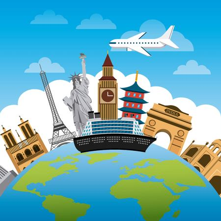 fly around: iconics monuments of the world around earth planet over sky background. travel and tourism design. vector illustraiton Illustration