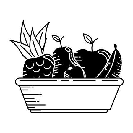 Delicious plate of fruits icon vector illustration graphic design Ilustrace
