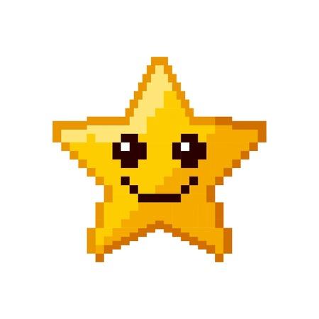 De ster van het videospelletje pixelated vectorillustratieontwerp
