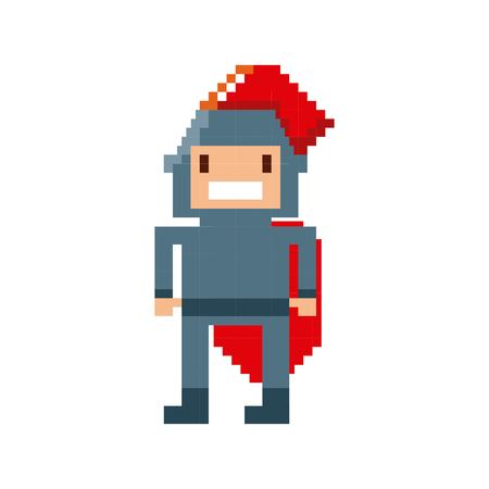 warrior video game pixelated vector illustration design