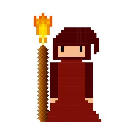 sorcerer monk video game pixelated character vector illustration design