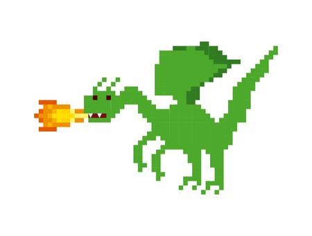 Draak video game pixelated karakter vector illustratie ontwerp