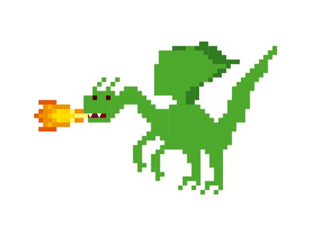 dragon video game pixelated character vector illustration design
