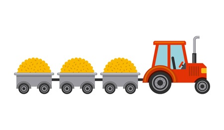 Tractor with straw isolated icon vector illustration design Ilustrace