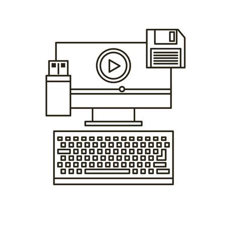 computer education: video marketing flat line icons vector illustration design