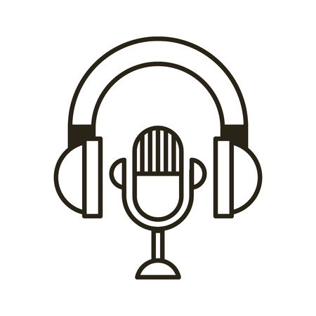 Headset met microfoon geïsoleerd pictogram vector illustratie ontwerp