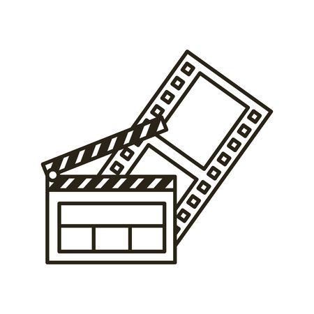 Clapper bord platte lijn icoon vector illustratie ontwerp