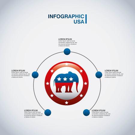 Republican party elephant usa icon vector illustration design Illustration