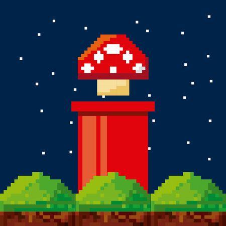 Pixelated video game icons vector illustratie ontwerp