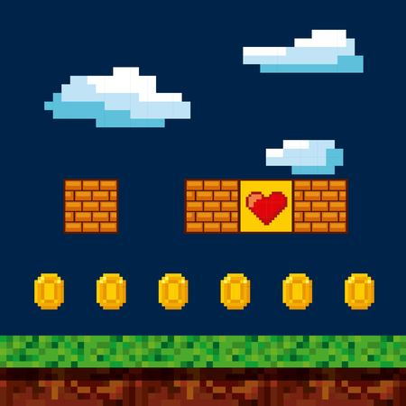 Pixelated video game icons vector illustration design Illustration