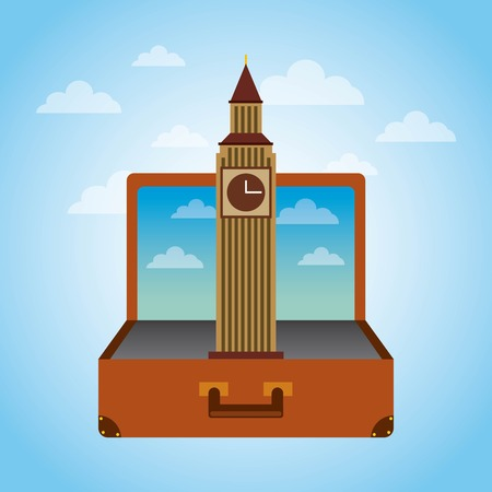 fly around: Brown suitcase with iconic momument of london. over sky background. vector illustration