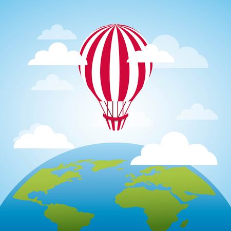 Air balloon flying and earth planet icon. colorful design. vector illustration Illustration