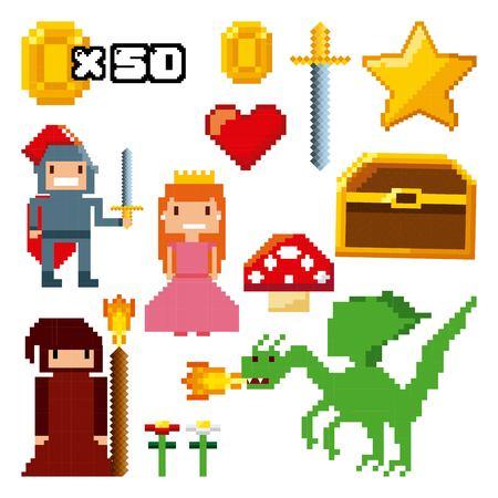 Pixelated iconos de videojuegos diseño de ilustración vectorial Foto de archivo - 76596318