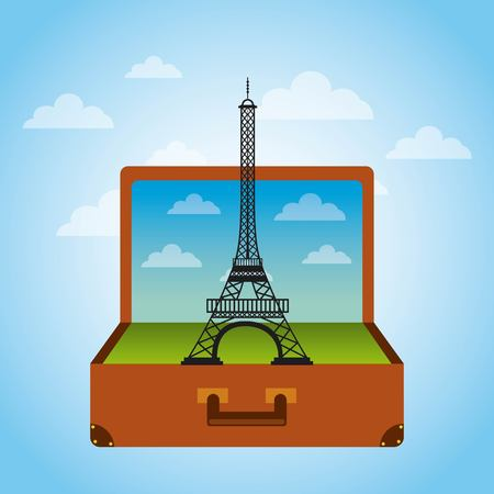Brown suitcase with iconic momument of paris. over sky background. vector illustration