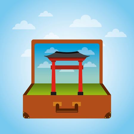 Brown suitcase with iconic momument of china . over sky background. vector illustration Illustration