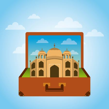 Brown suitcase with iconic momument of india . over sky background. vector illustration