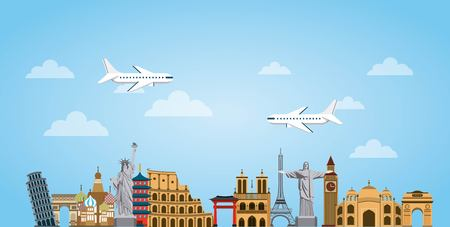 Iconic monuments of the world over sky background. colorful design. vector illustration