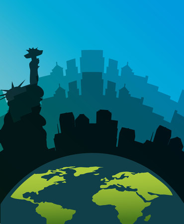 Earth planet over silhouette of New york city over blue background. vector illustration Illustration