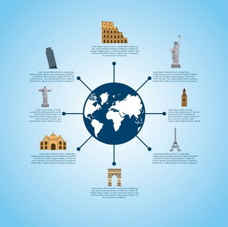 fly around: Infographic presentaiton of iconic monuments of the world  over blue background. colorful design. vector illustration Illustration