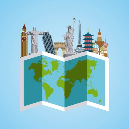 fly around: Iconic monuments of the world and map over blue background. colorful design. vector illustration Illustration