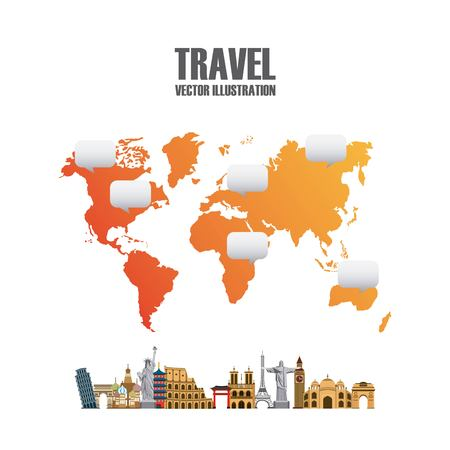 Infographic presentation of iconic monuments of the world and map over white background. colorful design. vector illustration Illustration