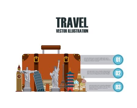 fly around: Infographic presentation of iconic monuments of the world. colorful design. vector illustration Illustration