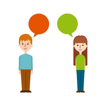 cartoon people standing with speech bubble. vector illustration