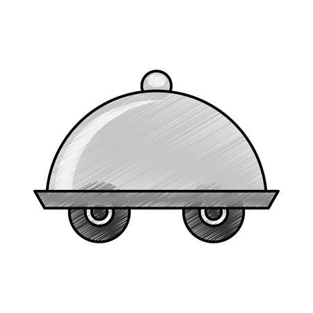 Serveur de plateau avec roues isolé icône vector illustration design Banque d'images - 76740567