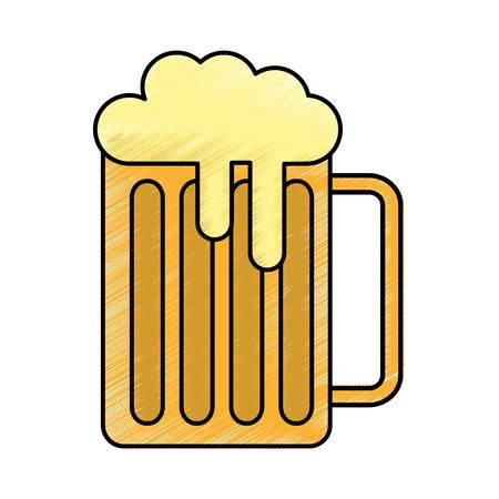 fresh beer in jar isolated icon vector illustration design Illustration