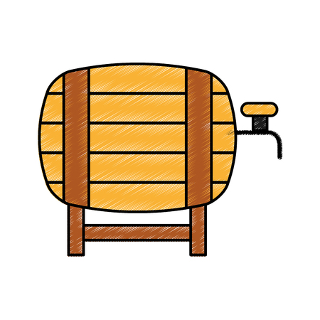 fresh beer in barrel isolated icon vector illustration design