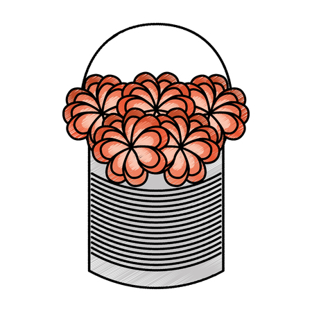 metal mason jar with flowers isolated icon vector illustration design