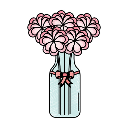 cristal bottle with flowers isolated icon vector illustration design Illustration