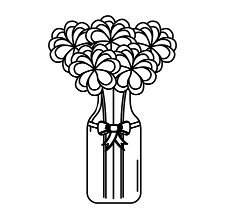 cristal bottle with flowers isolated icon vector illustration design Ilustração