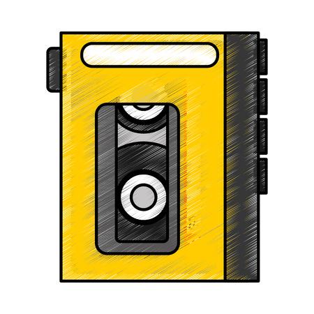 grabadora: Walkman reproductor de cassette icono diseño de ilustración vectorial Vectores