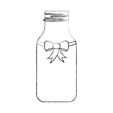cristal bottle with bowtie isolated icon vector illustration design Illustration