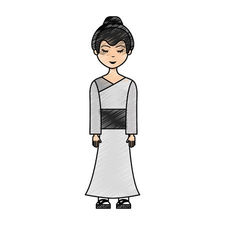 Japanese geisha character icon vector illustration design Illustration