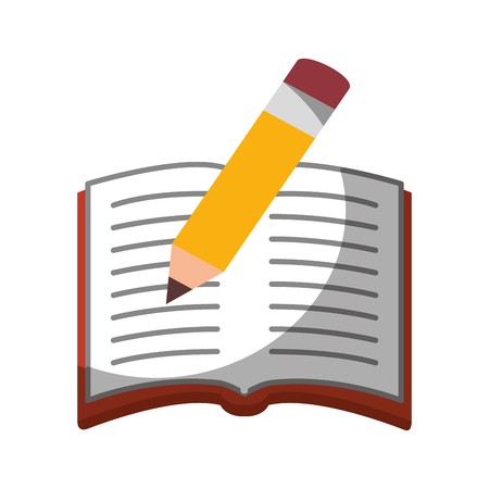 pencil and notebook icon over white background. colorful design. vector illustration Illustration