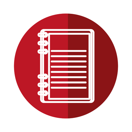notebook icon over red circle and white background. vector illustration