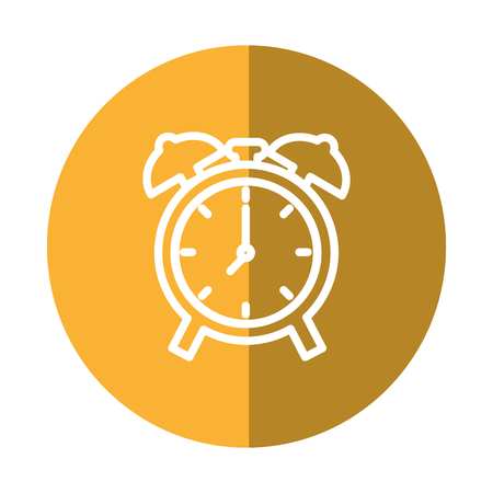 clock icon over yellow circle and white background. vector illustration