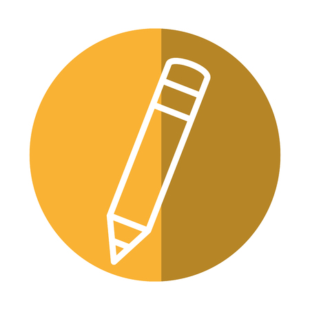secretarial: pencil icon over yellow circle and white background. vector illustration