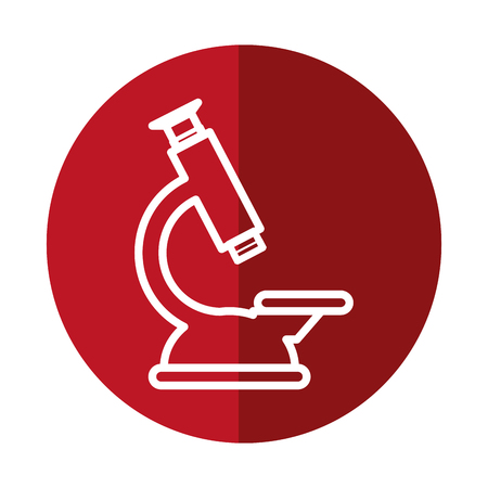 microscope tool  icon over red circle and white background. vector illustration