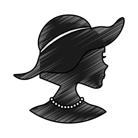 woman silhouette with elegant hat vector illustration design